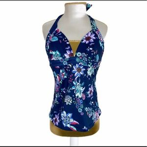 Jessica Simpson swimsuit top floral dark navy S